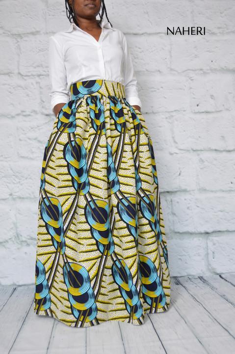 African print skirt - MIMI discs print maxi skirt