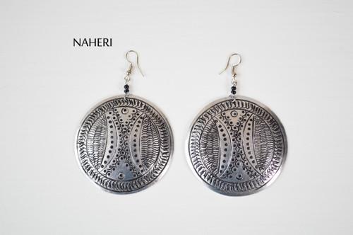 African inspired metal earrings handmade engraved jewelry naheri