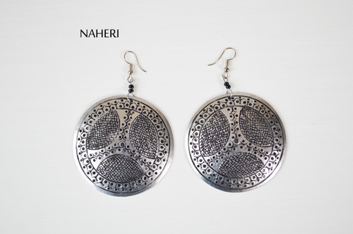 African metal earrings handmade jewelry naheri