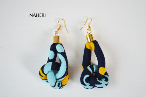 African print rope earrings blue fabric knot jewelry naheri