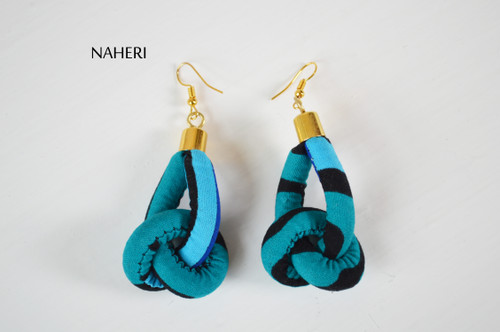 African rope earrings fabric knot jewelry naheri