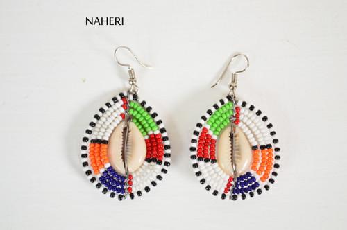 African beaded cowrie earrings round jewelry naheri