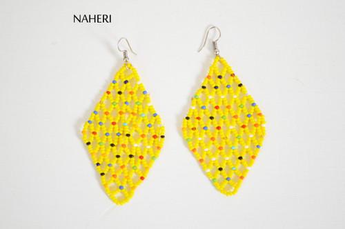 African beaded mesh earrings yellow jewelry naheri