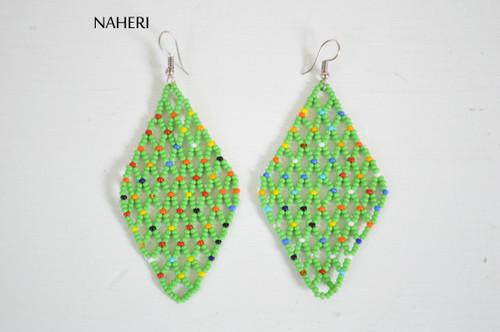 African beaded mesh earrings green jewelry naheri