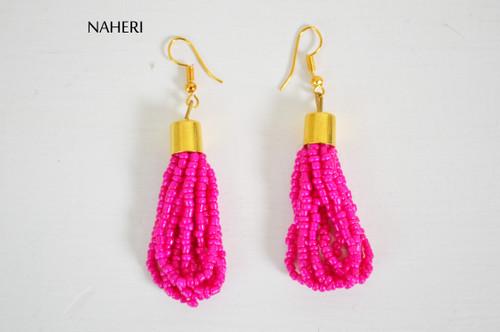 African beaded earrings hot pink handmade jewelry naheri