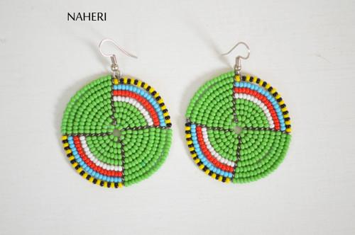 Green maasai beaded African handmade earrings jewelry by naheri