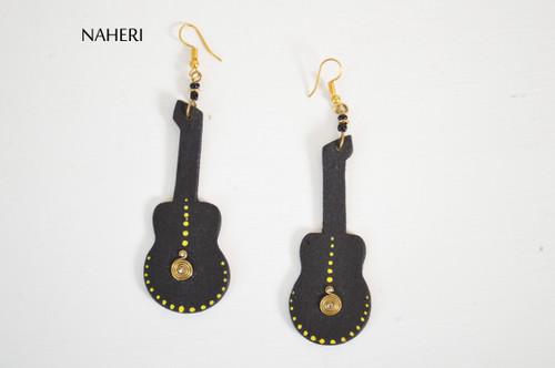 African wooden earrings guitar black jewelry naheri