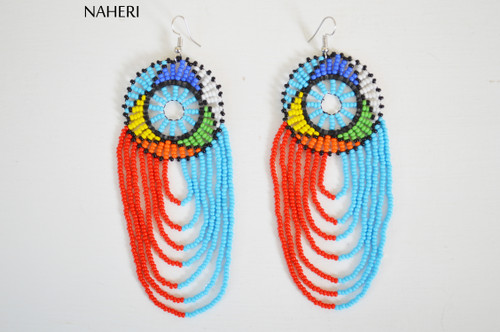 African handmade infinity earrings multicolored jewelry naheri