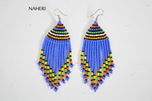 African handmade fringe earrings royal blue jewelry naheri