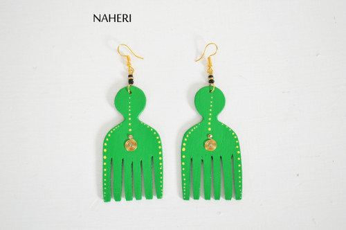 African wooden earrings afro comb green jewelry naheri