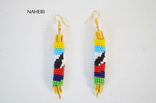 African beaded cowrie shell earrings handmade jewelry NAHERI