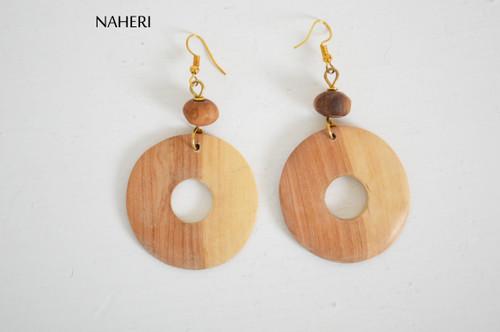 African earrings olive wood jewelry naheri fashion