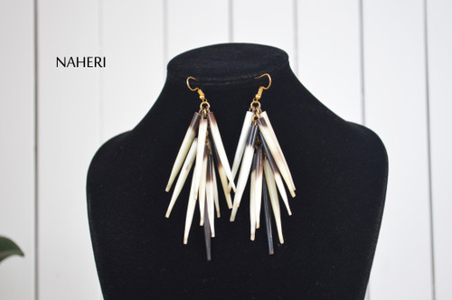 African quill earrings tribal jewelry by naheri