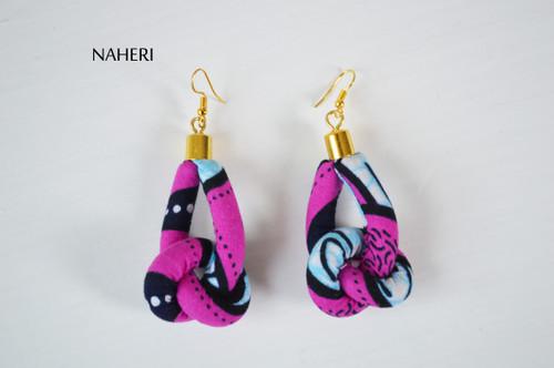 African print rope earrings knot fabric jewelry naheri