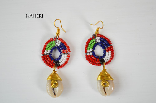 Beads and cowrie shell earrings tribal jewelry handmade naheri