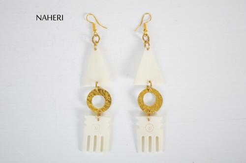 African brass and bone earrings comb jewelry naheri
