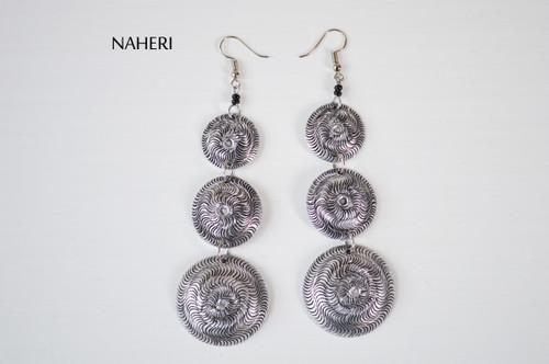 African engraved earrings handmade metal jewelry naheri