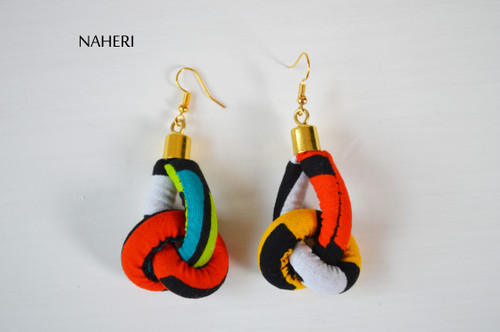 African fabric earrings rope knot fashion jewelry naheri