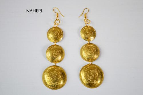 African engraved earrings handmade brass metal jewelry naheri