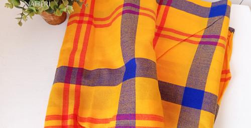 African Maasai Shuka yellow blue plaid naheri accessories