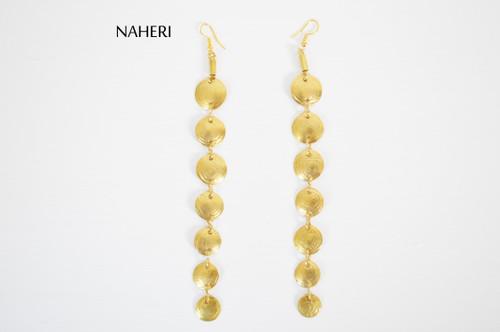 Brass metal earrings African jewelry long naheri