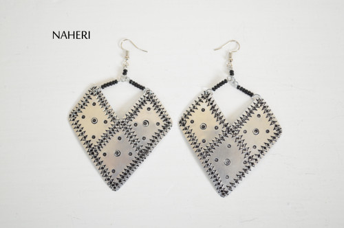 African earrings boho style silver jewelry naheri