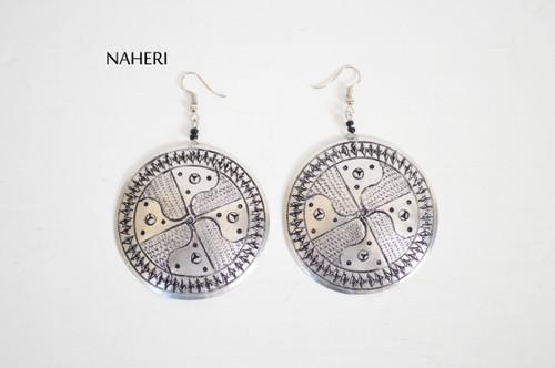 African inspired metal earrings round jewelry naheri