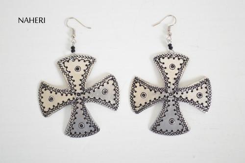 African cross shape metal earrings jewelry naheri