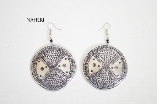 African metal earrings round jewelry naheri