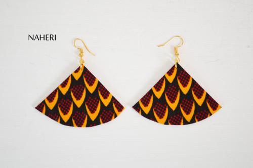 African fabric earrings fan shape jewelry naheri