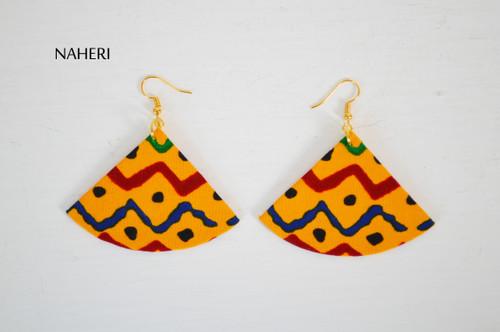 African print fabric earrings fan shape jewelry by naheri