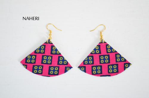 Fabric earrings fan shape jewelry pink African jewelry by naheri