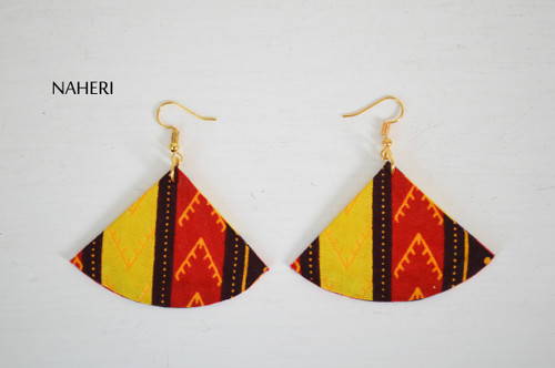 African dashiki fabric earrings fan shape jewelry naheri