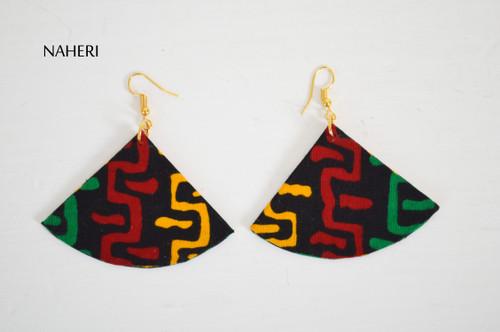 African tribal fabric earrings fan shape jewelry by naheri