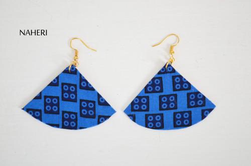 African tribal fabric earrings fan shape blue jewelry by naheri
