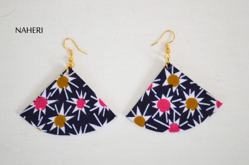 African floral fabric earrings fan shape jewelry naheri