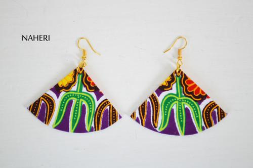 Dashiki earrings fan shape African jewelry by naheri