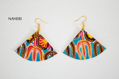 Teal dashiki earrings fan shape jewelry naheri