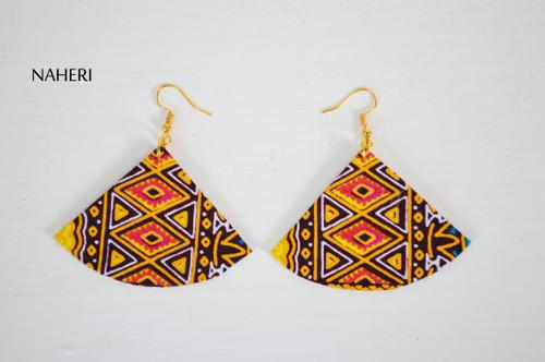 African dashiki earrings fan shape jewelry naheri