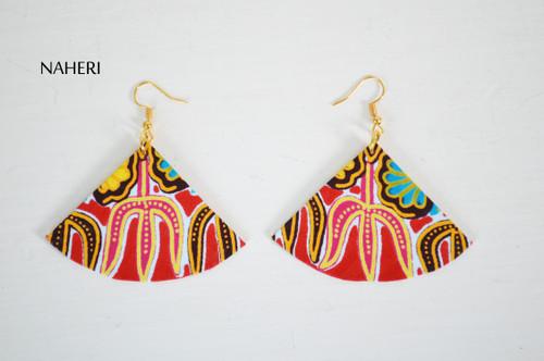 Red dashiki earrings fan shape jewelry naheri
