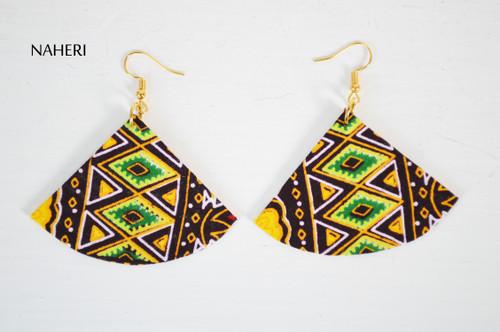 African earrings dashiki fan shape jewelry naheri