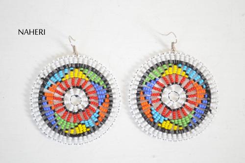 African zulu beaded round earrings jewelry by naheri