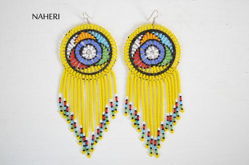African beaded fringe earrings yellow jewelry naheri