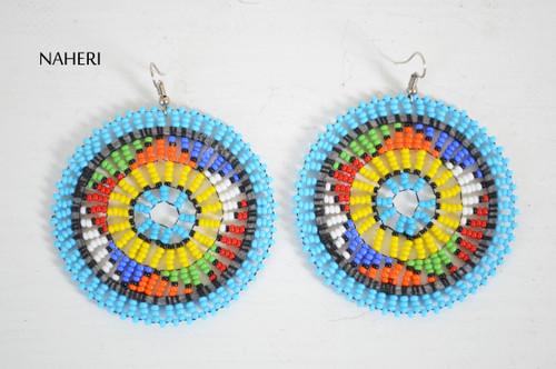 African zulu beaded round earrings sky blue fashion jewelry naheri