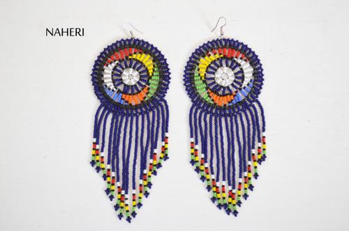 African fashion beaded fringe earrings navy blue jewelry naheri