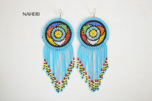 African beaded fringe earrings sky blue fashion jewelry naheri