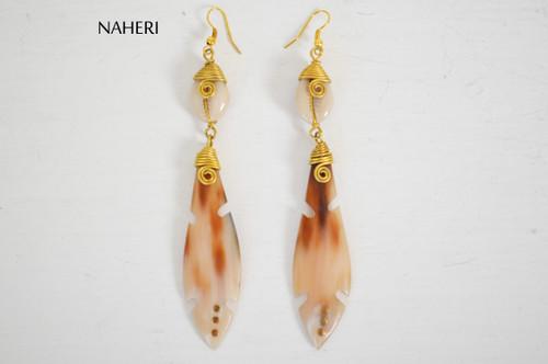 African horn earrings tribal jewelry naheri