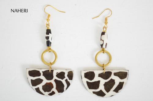 African brass and bone earrings giraffe print jewelry naheri