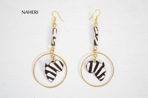 African inspired bone earrings brass wire jewelry naheri