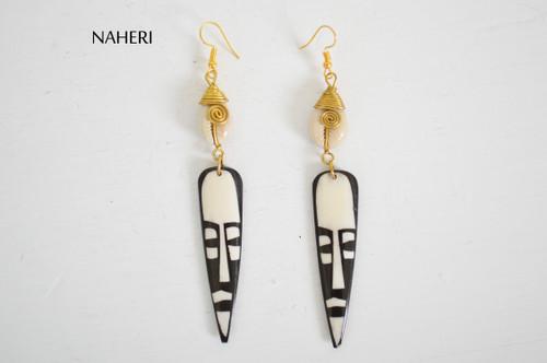 African bone brass earrings mask jewelry naheri fashion